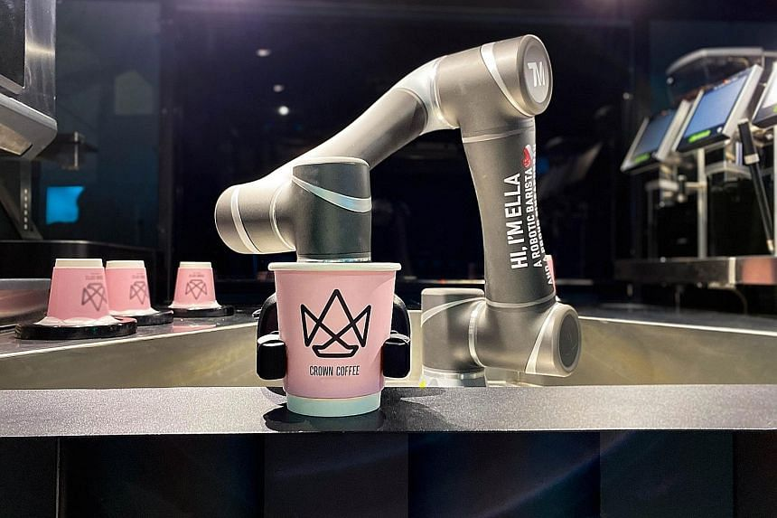 Crown Technologies' robot barista can make up to 200 cups of coffee an hour. It is monitored 24/7 to ensure there are no abnormalities, and uses predictive analytics to forecast demand, making it easier to plan replenishments and servicing of the kio