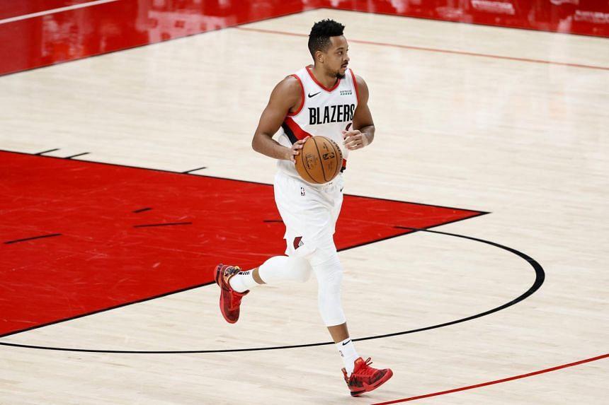 The Portland Trail Blazers' CJ McCollum scored 30 points in the victory over the Toronto Raptors.