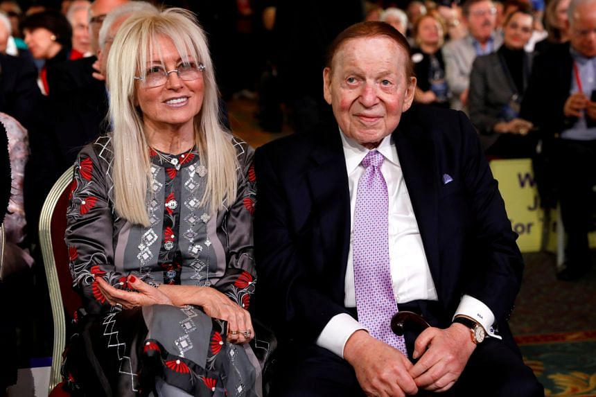 Mr Sheldon Adelson and his wife Miriam at the Republican Jewish Coalition 2019 Annual Leadership Meeting in Las Vegas.