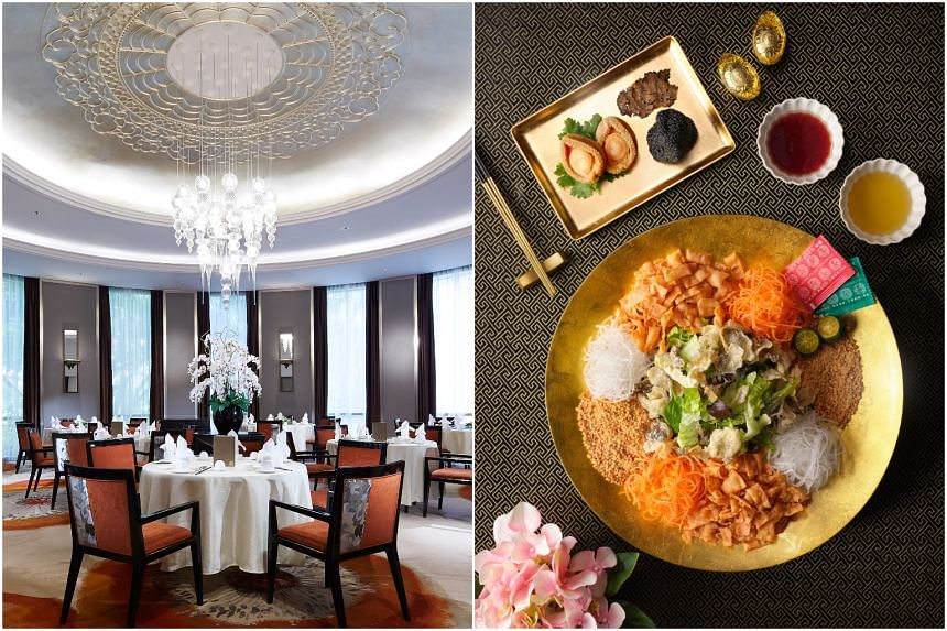 Venues like Wah Lok Cantonese Restaurant in Carlton Hotel Singapore have been booked up since Dec 20, 2020. (Right) Truffle Abalone Lo Hei from Wah Lok.