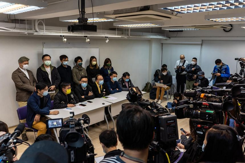 Pro-democracy activists attend a news conference in Hong Kong, China, on Jan. 6, 2021.