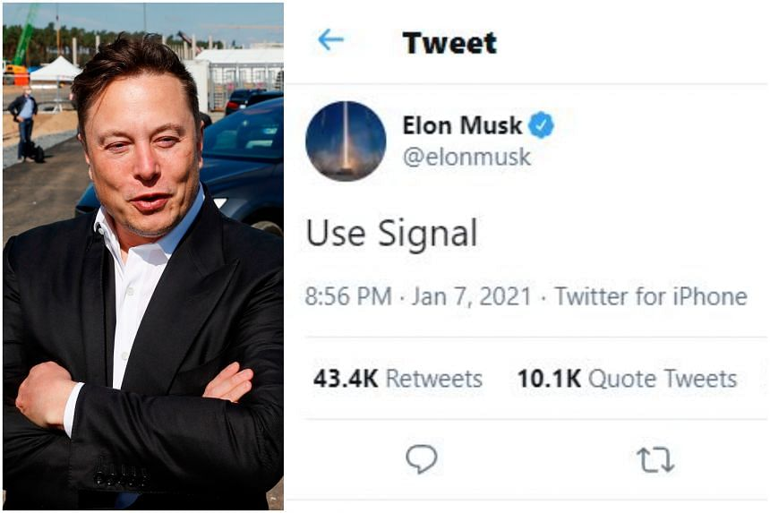 """""""Use Signal,"""" the Tesla chief executive officer wrote on Twitter on Jan 7."""