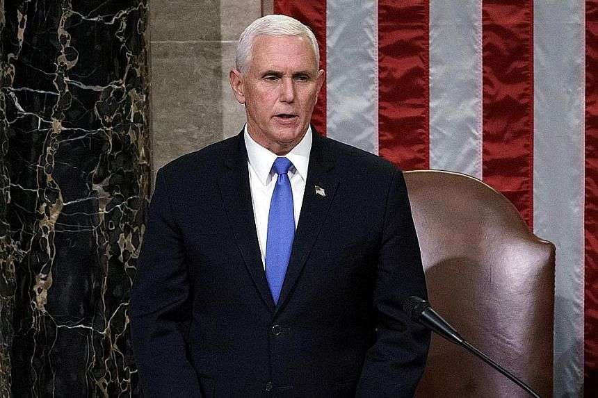 """Vice-President Mike Pence (above) and President Donald Trump agreed that people who broke into the Capitol do not represent Mr Trump's """"America First"""" movement, an official said."""