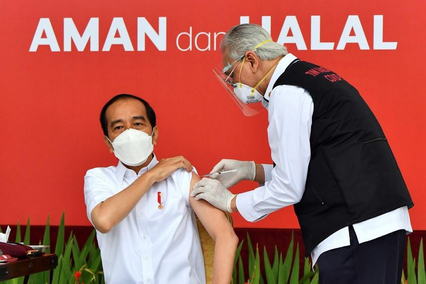 The vaccination at the state palace was broadcast live on the presidential secretariat's YouTube channel.
