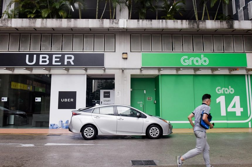 The Uber and Grab offices at Midview City in 2018. Uber sold its Southeast-Asian business to Grab for a 27.5 per cent stake in Grab.