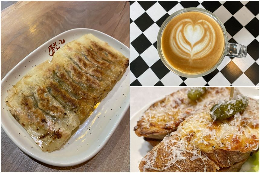 (Clockwise from left) Chao Chao Gyoza, cappuccino from Glass Roasters and Croque Kinoko from Necessary Provisions.