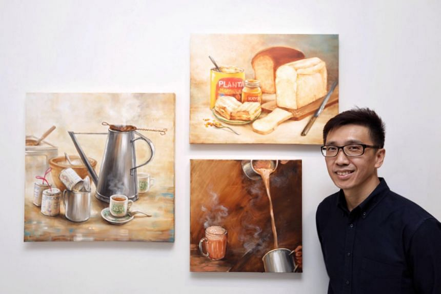 Mr Yip Yew Chong with some of his murals at Art Porters Gallery on Jan 9 2021.