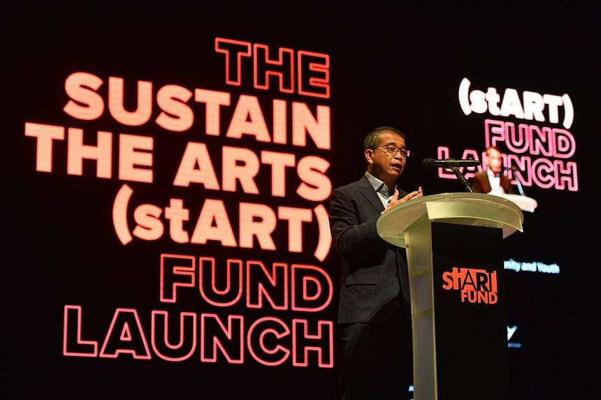 Minister for Culture, Community and Youth Edwin Tong speaks at The Sustain the Arts (stART) Fund launch at Victoria Theatre on Jan 13, 2021.