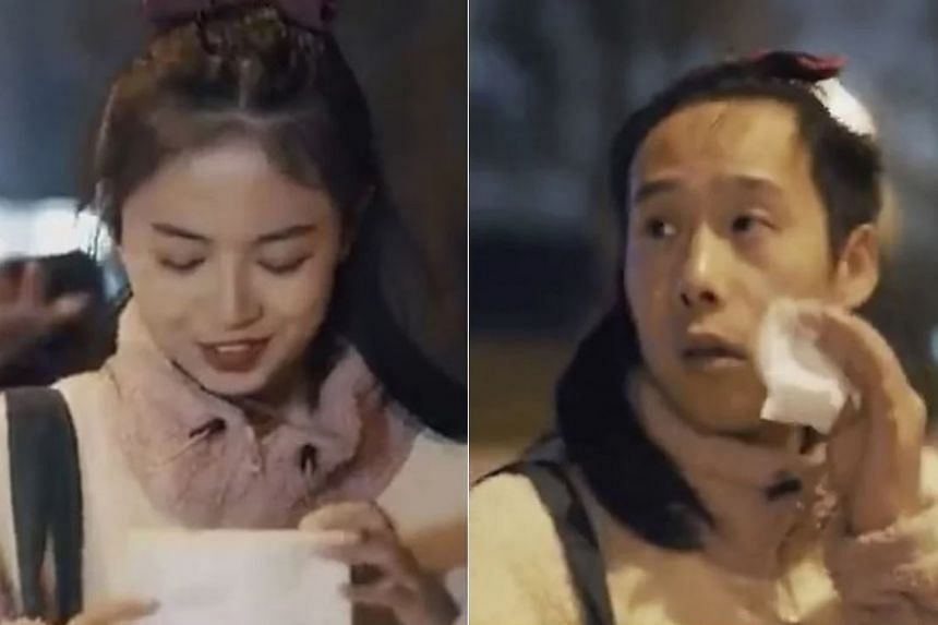 Screenshots from the video advertisement by Chinese cotton products manufacturer PurCotton. The ad shows a woman walking home at night followed by a male stalker. As he gains on her, she uses the company's make-up wipes, transforming into a man and s