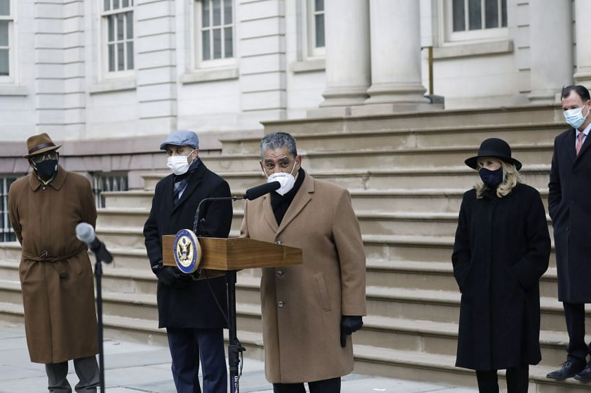 Adriano Espaillat (centre) speaks at a press conference on Jan 9, 2021, to demand the impeachment of US President Donald Trump over the Capitol riots.