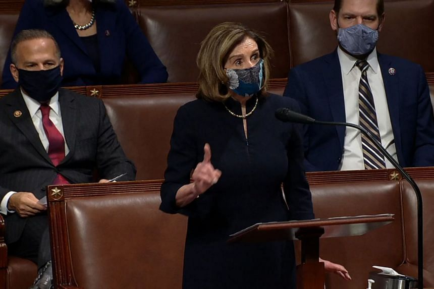 House Speaker Nancy Pelosi voices her opinion on the House floor during the debate on Jan 13, 2020.