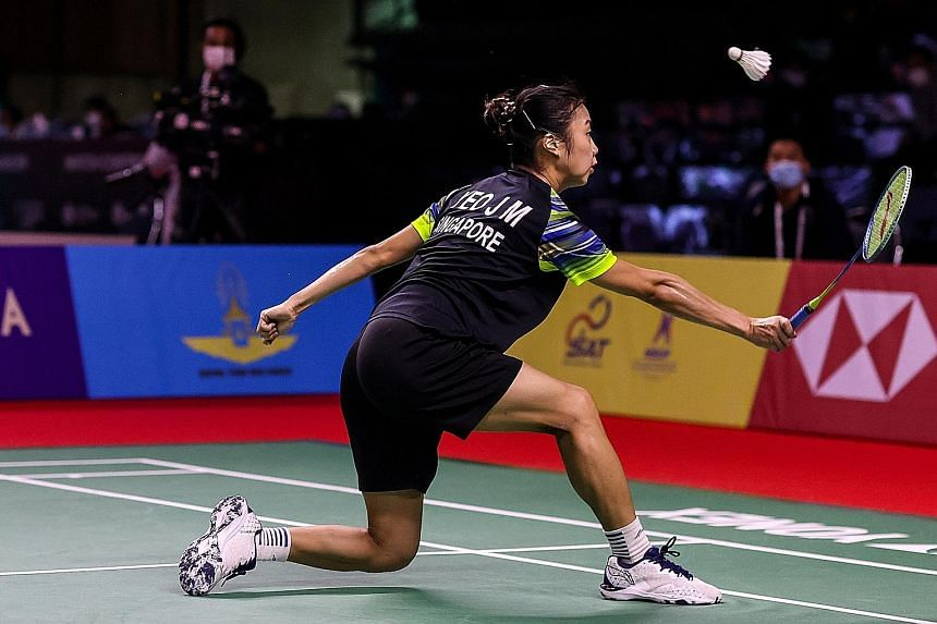 Singapore's Yeo Jia Min during her 21-15, 21-15 loss to world No. 5 Ratchanok Intanon at the Yonex Thailand Open yesterday. The defeat extended her winless record against the Thai to 3-0.