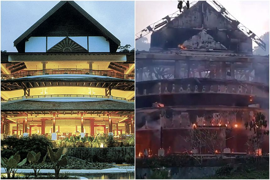 The fire started in the kitchen of the five-star hotel.
