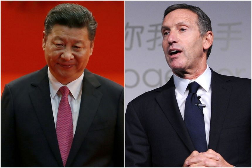 """Mr Xi urged former Starbucks chairman Howard Schultz to """"continue to play an active role in promoting China-US economic and trade cooperation""""."""