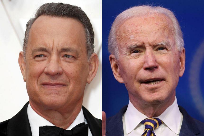 Tom Hanks (left) will host a primetime TV special on Jan 20 to celebrate the inauguration of Joe Biden (right).
