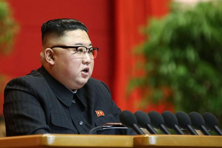 North Korean leader Kim Jong Un delivering a speech to conclude the 8th Congress of the Workers' Party of Korea (WPK) in Pyongyang on Jan 12.