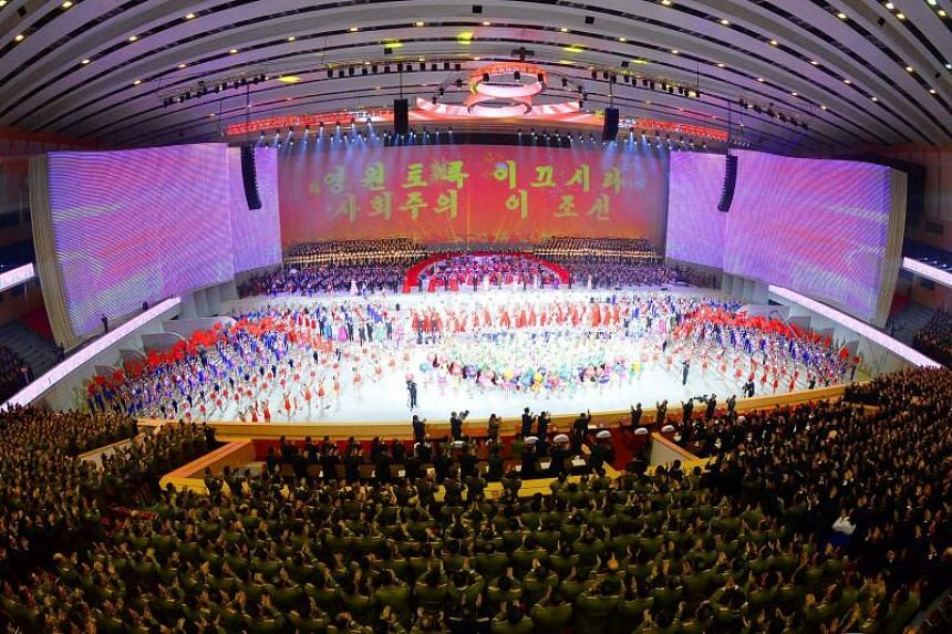 A performance celebrating North Korea's party congress in Pyongyang on Jan 13, 2021.