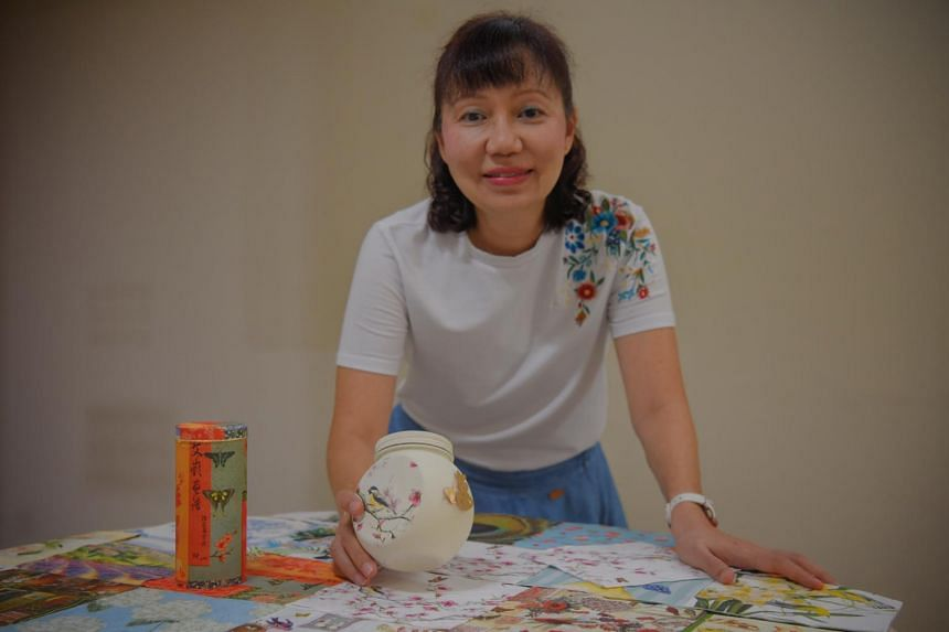 Ms Angie Ong holds craft lessons at her home, where she turns household waste items such as plastic waste and containers into decorative home art pieces.