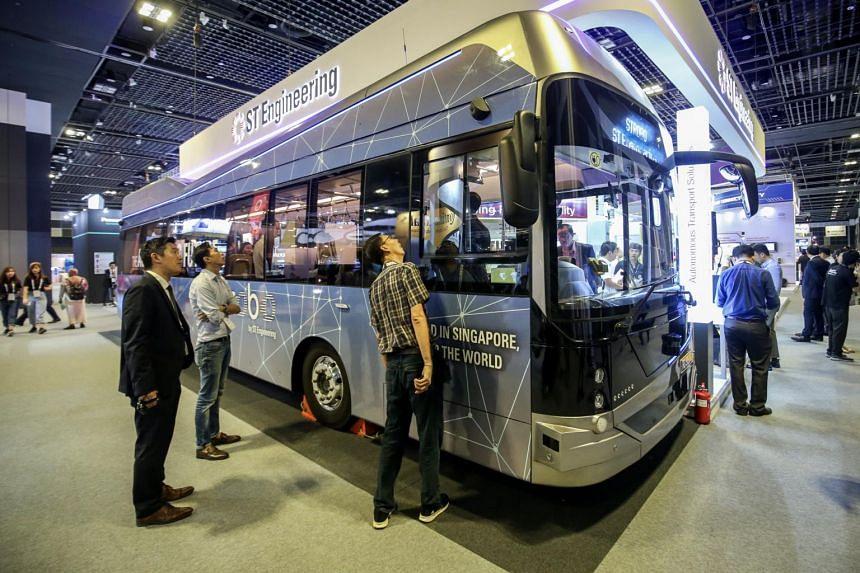 An ST Engineering Strobo autonomous bus at the Autonomous Mobility Summit in Singapore in 2019.