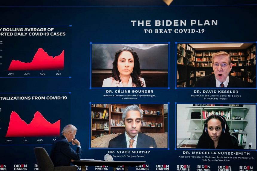 Mr Joe Biden attends a Covid-19 briefing with Dr Celine Gounder, Dr David Kessler, Dr Marcella Nunez-Smith and Dr Vivek Murthy, in Wilmington, Delaware, on Oct 28, 2020.