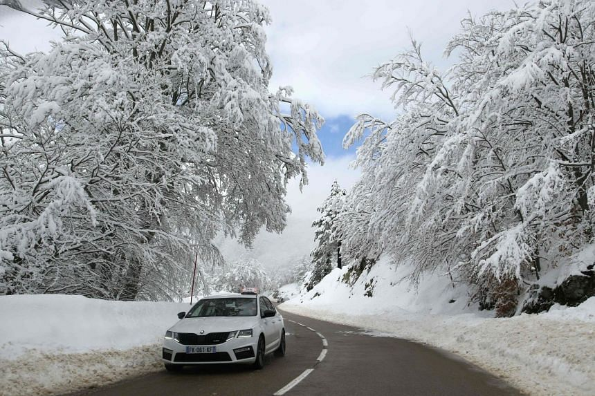 A car drives through a forest covered with snow on the French Mediterranean island of Corsica in December 2020.