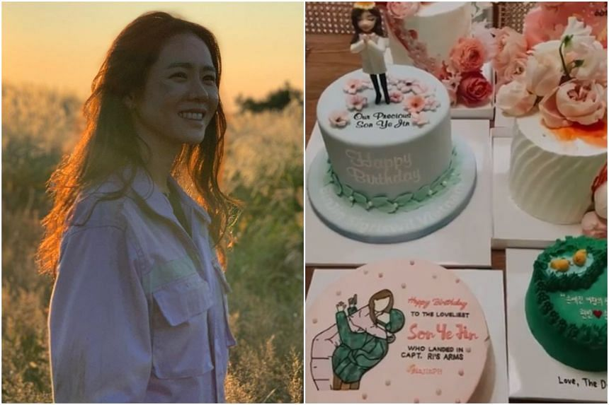 Cakes were among the gifts Son Ye-jin received from her fans.