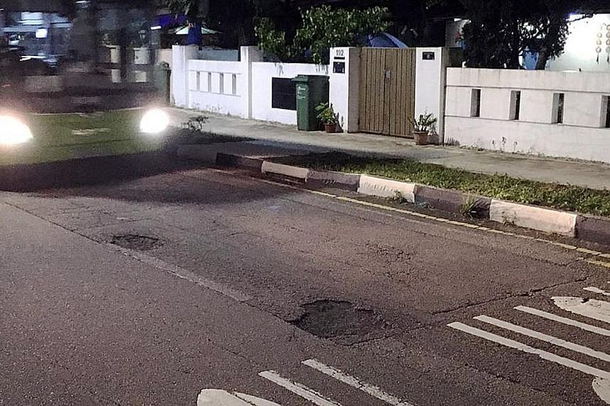 Potholes were spotted in (from left) Jalan Bahagia , Hill Street and Jalan Bahar yesterday. After heavy rain in the past weeks, road defects like these have proliferated across Singapore, raising concern among motorists and cyclists. ST PHOTOS: JASON