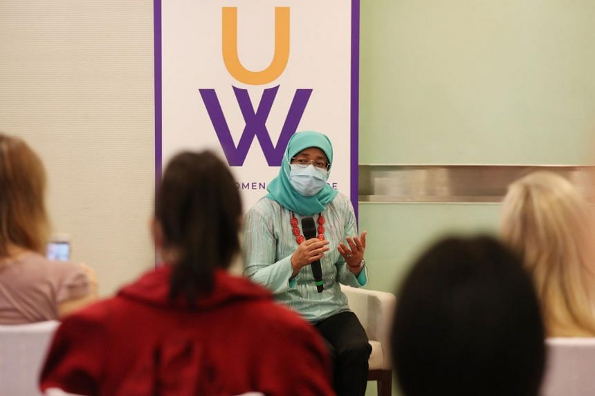 President Halimah Yacob during a dialogue session with United Women Singapore board members, staff and other participants on Jan 16, 2021.