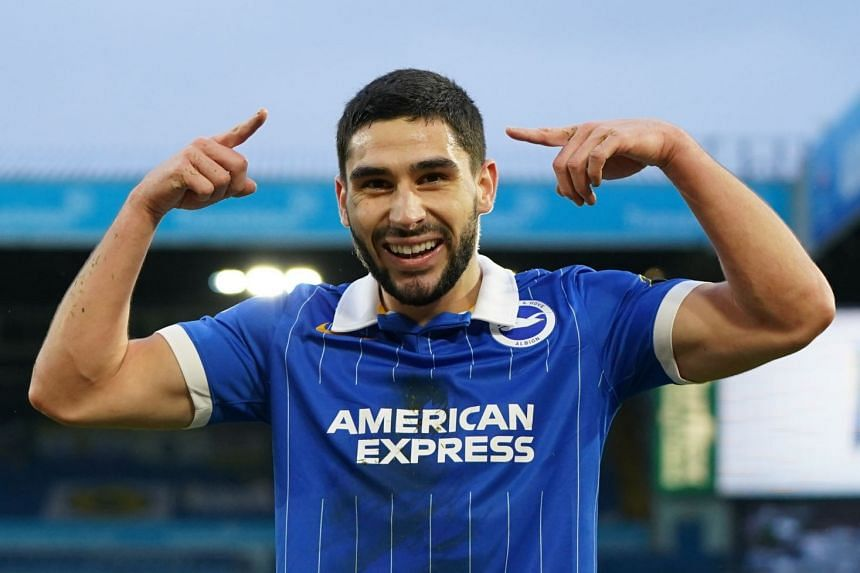 Maupay celebrates scoring for Brighton.