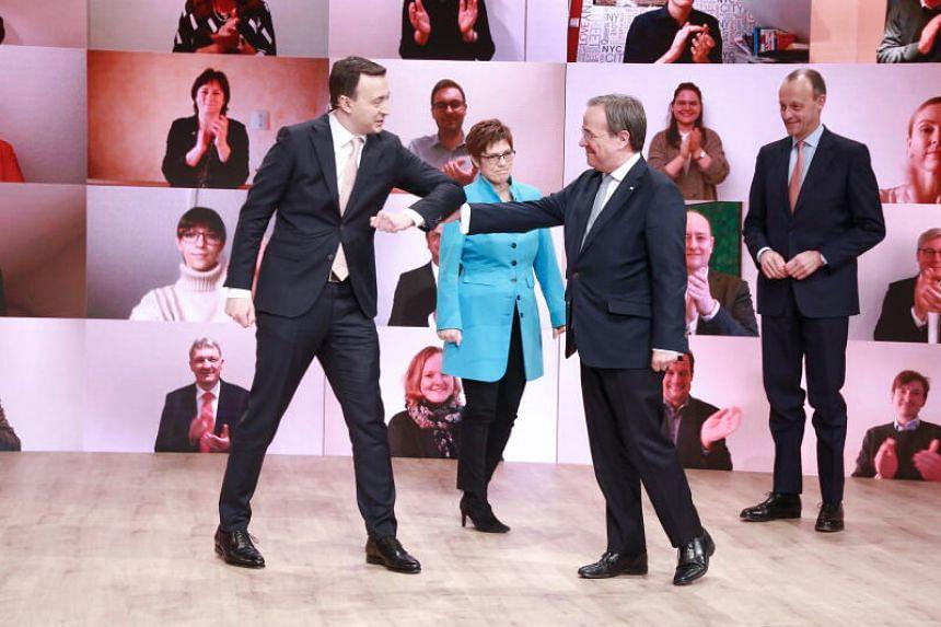 Norbert Roettgen, Armin Laschet, Friedrich Merz, Paul Ziemiak, and Annegret Kramp-Karrenbauer during a CDU party virtual party congress in Berlin, Germany, on Jan 16 2021.