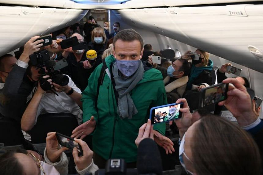 Mr Alexei Navalny onboard a Pobeda Airlines plane heading to Moscow before take-off from Berlin Brandenburg Airport, on Jan 17, 2021.
