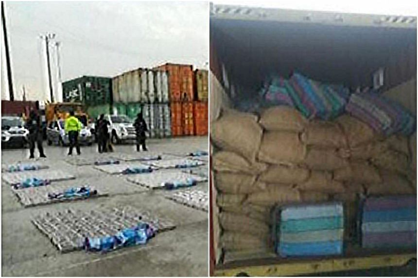 The narcotics were found in the port of Guayaquil thanks to a drug-sniffing dog.