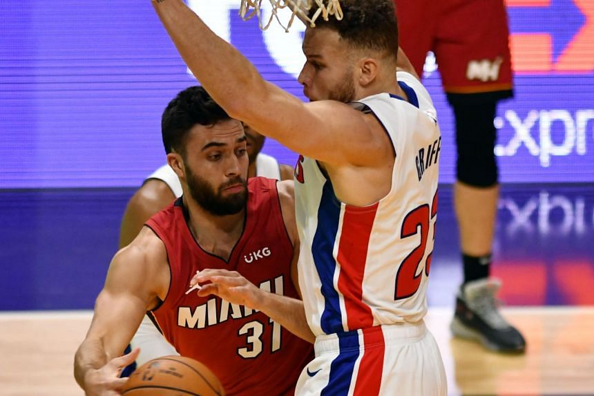 Detroit Pistons forward Blake Griffin (right) defending against Miami Heat guard Max Strus during their NBA match on Jan 16, 2021.