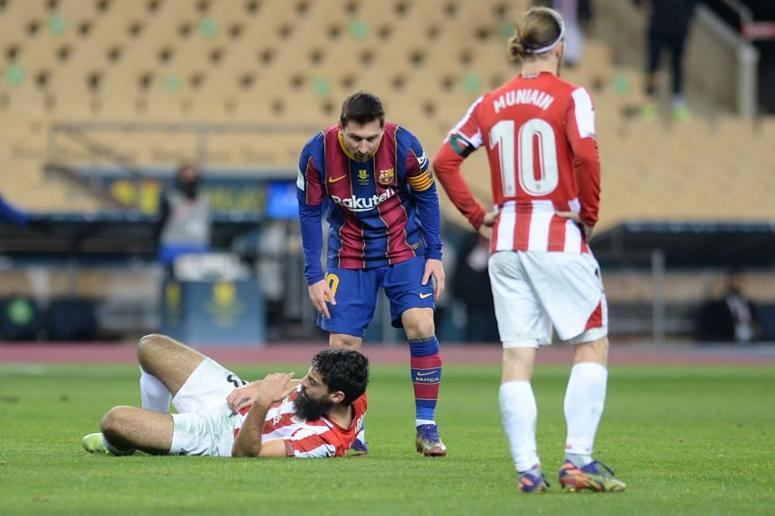 Messi was dismissed after striking Asier Villalibre in the final minute of the game.