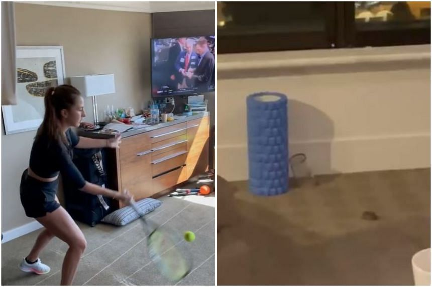 Belinda Bencic (left) practised two-handed backhands against her window, while Yulia Putintseva found a mouse in her room.