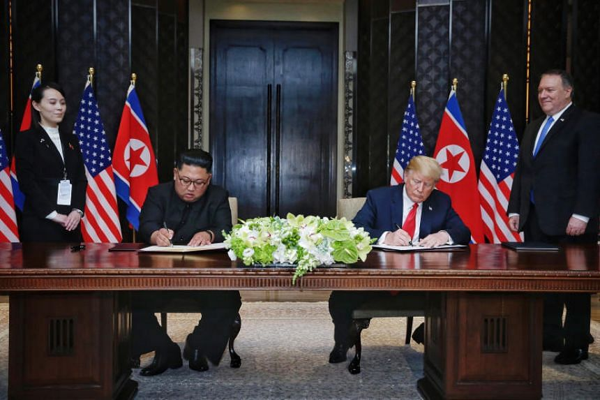 US President Donald Trump and North Korean leader Kim Jong signed the Singapore Declaration during their first summit in 2018.