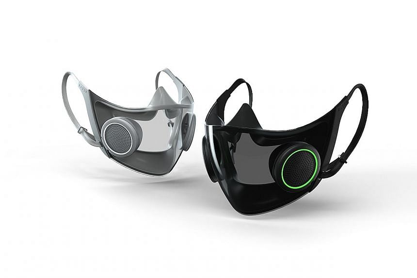 The Project Hazel smart mask from gaming tech firm Razer, which was announced at the Consumer Electronics Show 2021, features rechargeable ventilators and a transparent design.