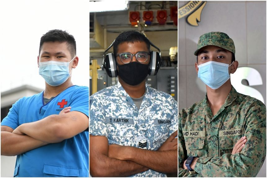 (From left) Third Sergeants Shane Lim and Karthikeyan Thirunavukkarasu, and Private Muhammad Hadi Abdul Hairy.