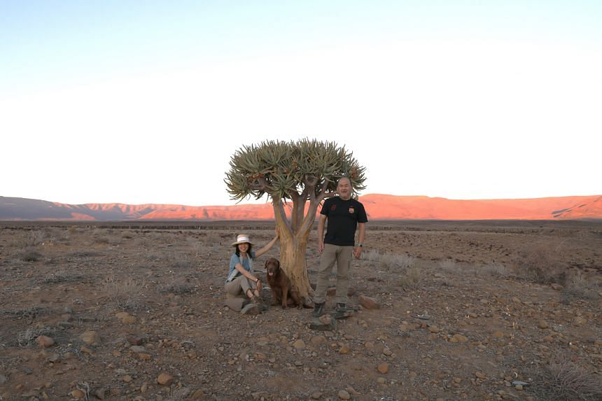A2A Safaris co-founder Jose Cortes and his wife Kitty under quiver tree in Great Karoo, South Africa in Nov 2020.