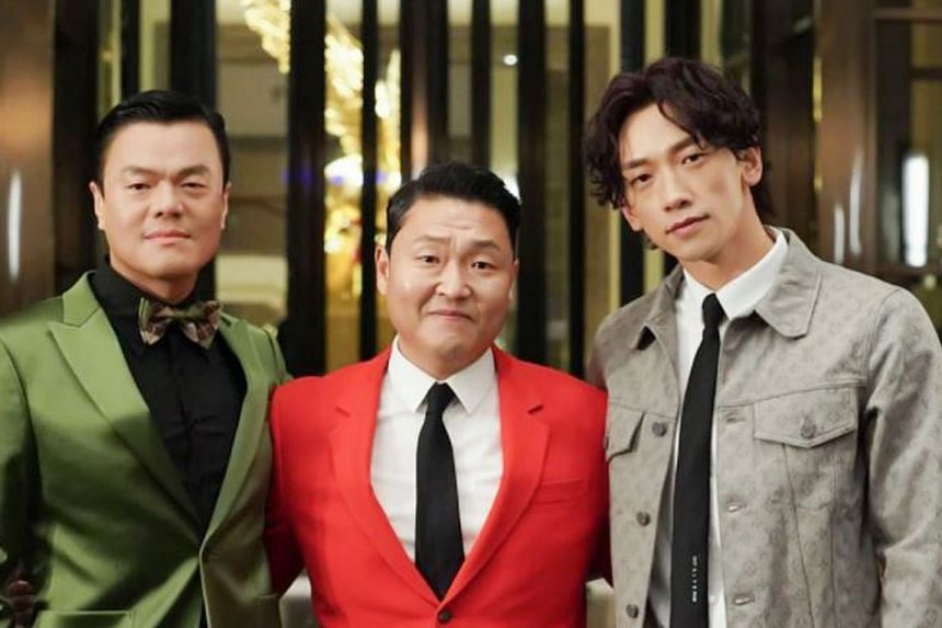 Singers Park Jin-young (left) and Psy (in red) will judge an audition show, while Rain (right) will launch a boy band.