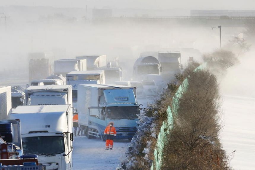 Blizzard conditions cause 134-car smash in Japan