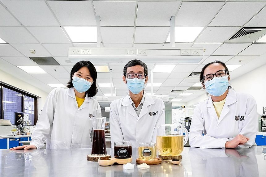 The probiotic coffee and tea - developed by NUS researchers (from far left) Ms Alcine Chan, Associate Professor Liu Shao Quan and Ms Wang Rui - can be stored for more than three months without compromising their probiotic viability.