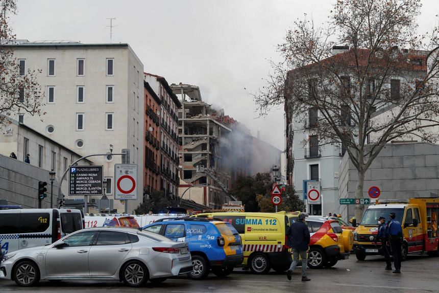 Smoke is seen rising from the site of an explosion in Madrid on Jan 20, 2021.