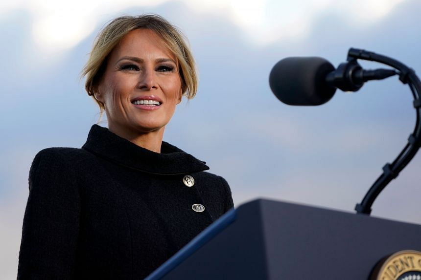US First Lady Melania Trump speaks before departing from Joint Base Andrews in Maryland on Jan 20, 2021.