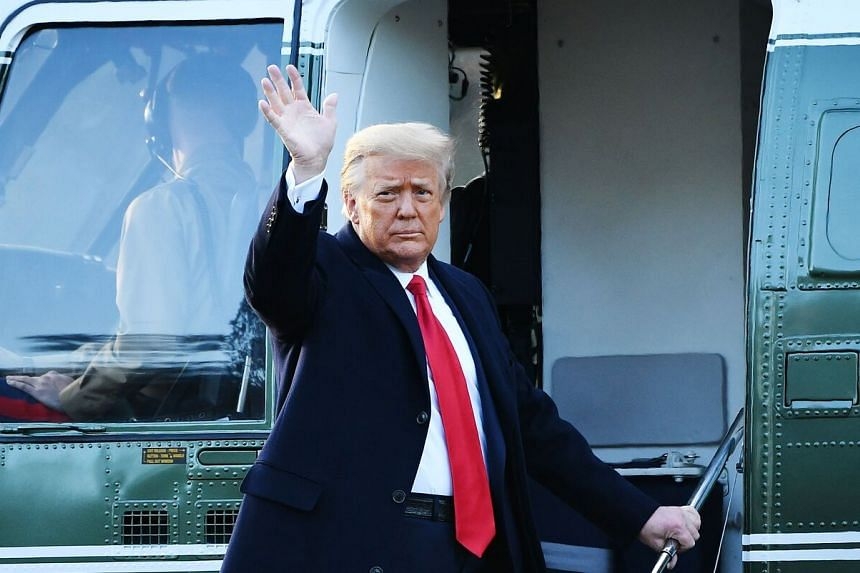 US President Donald Trump boards the Marine One helicopter as he departs the White House on Jan 20, 2021.