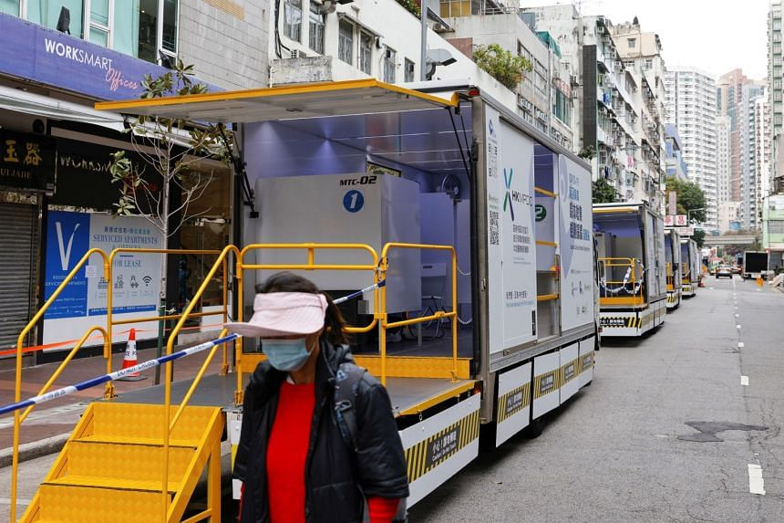 A makeshift community testing centre for Covid-19 in Hong Kong. The city recorded 56 confirmed cases yesterday.