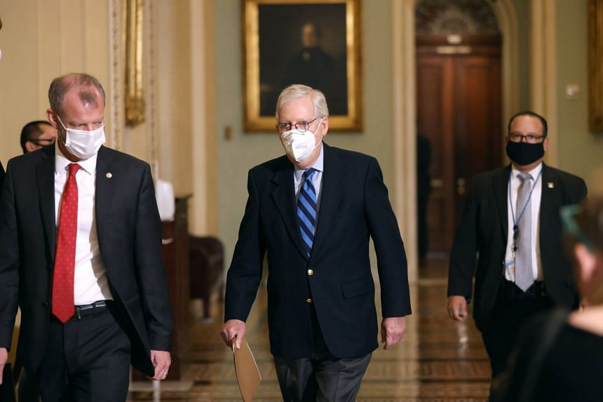 Mitch McConnell leaves the Senate chamber on Jan 19, 2021 in Washington, DC.