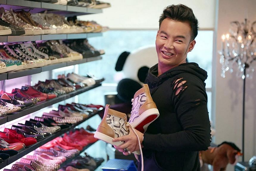 Kane Lim at home in Los Angeles with his collection of designer footwear.