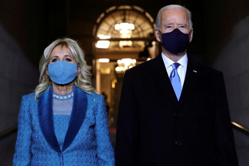 US President Joe Biden and First Lady Jill Biden arrive at his inauguration in Washington on Jan 20, 2021.