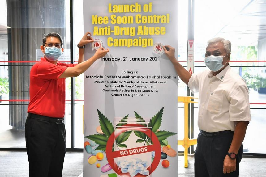 Mr Muhammad Faishal Ibrahim and Mr Hawazi Daipi launch the Nee Soon Central Anti-Drug Abuse Campaign at Northpoint City on Jan 21.